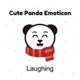 Riso bonito da panda do bebê do emoticon dos desenhos animados Emoticons das etiquetas da panda dos desenhos animados do caráter  Fotografia de Stock