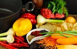 Riso, carne, verdure e spezie crudi Fotografie Stock Libere da Diritti
