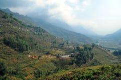 Riso che coltiva con la cabina dell'agricoltore sulla montagna del Vietnam Fotografia Stock