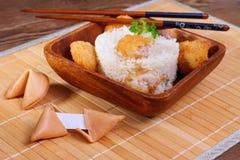 Riso con carne di pollo ed il biscotto di fortuna Fotografia Stock Libera da Diritti