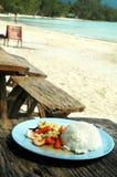 Riso con frutti di mare e le verdure Fotografie Stock