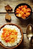 Riso con il cavolfiore del curry Fotografie Stock