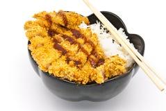 Riso con il pollo fritto Fotografia Stock
