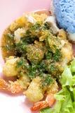 Riso con l'alimento tailandese dei gamberetti della carne di maiale del pollo della salsa del basilico Fotografie Stock
