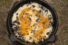 Riso con le prugne, la paprica ed il curry in un calderone sul fuoco Fotografia Stock