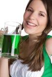 Riso da menina da cerveja imagens de stock royalty free