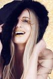 Riso da mulher do ano novo fotografia de stock