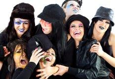 Riso das bruxas de Halloween das meninas Fotos de Stock Royalty Free