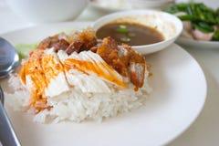 Riso del flusso con il pollo ed il porco mixed Fotografie Stock Libere da Diritti