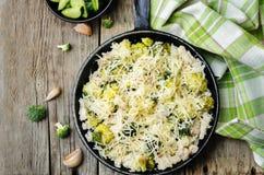 Riso del pollo del formaggio dei broccoli Fotografia Stock