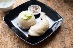 Riso del pollo di Hainanese con minestra e salsa Fotografia Stock Libera da Diritti