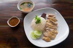 Riso del pollo di Hainanese con salsa e minestra Fotografie Stock