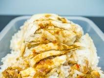 Riso del pollo del riso o del vapore del pollo di Hainanese Fotografie Stock