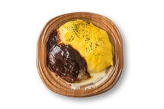 Riso dell'omelette con stile supplementare della lava dell'hamburger del manzo Fotografie Stock Libere da Diritti