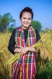Riso della tenuta della donna dell'agricoltore nel campo Immagini Stock