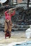 Riso della vagliatura del vento nel Nepal Fotografie Stock