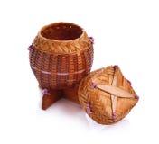 Riso di legno di bambù di Kratib di chiamata del contenitore di riso in Tailandia Immagini Stock Libere da Diritti