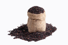 Riso di Riceberry nella vista superiore dei sacchi su un fondo bianco Fotografie Stock