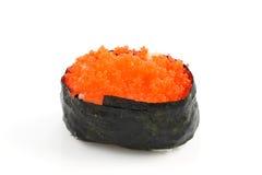 Riso di sushi giapponese dell'alimento con le uova di color salmone Fotografia Stock Libera da Diritti