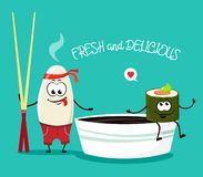 Riso divertente con i bastoncini ed il rotolo giapponesi con la salsa di soia nello stile del fumetto Illustrazione di vettore illustrazione di stock