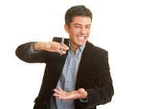 Riso do homem de negócios Imagem de Stock