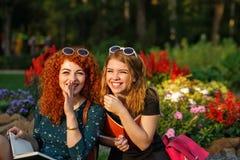 Riso dos estudantes das amigas no parque Imagem de Stock