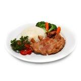 Riso e bistecca tradizionali Fotografia Stock