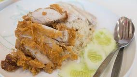 Riso e Fried Chicken del pollo Immagini Stock
