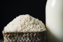 Riso e latte del riso fotografia stock