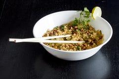 Riso e verdure battuti Poha- Fotografie Stock Libere da Diritti