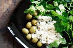 Riso ed olive Fotografia Stock