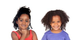 Riso engraçado de duas crianças foto de stock