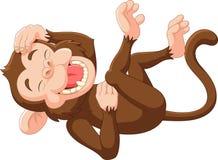 Riso engraçado do macaco dos desenhos animados Fotos de Stock Royalty Free
