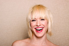 Riso feliz da mulher imagem de stock royalty free