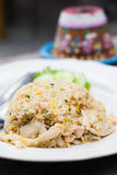 Riso fritto con il pollo in piatto bianco Fotografia Stock Libera da Diritti