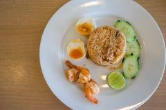 riso fritto con la salsa di peperoncino rosso Fotografia Stock