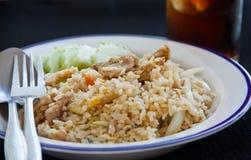 Riso fritto con porco, tailandese fotografia stock