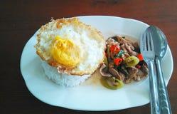 Riso fritto della carne di maiale del basilico ed uovo fritto Fotografie Stock