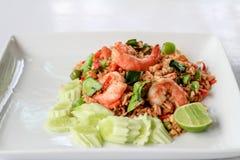 Riso fritto della immersione del peperoncino rosso del gamberetto caldo e piccante Fotografia Stock