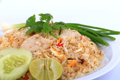 Riso fritto di stile tailandese con carne di maiale a Bangkok, Tailandia Immagini Stock Libere da Diritti