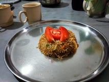 Riso fritto tailandese con il pollo immagine stock