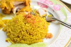 Riso giallo musulmano con il pollo Fotografia Stock