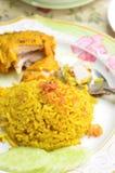 Riso giallo musulmano con il pollo Immagine Stock