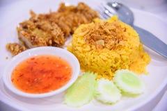 Riso giallo musulmano con il pollo con salsa Immagini Stock Libere da Diritti