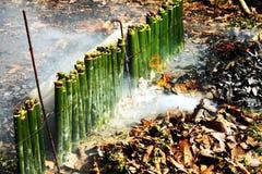 Riso glutinoso arrostito in giunti di bambù Fotografie Stock Libere da Diritti