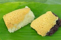 Riso glutinoso con crema tailandese Fotografia Stock