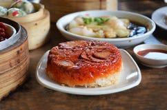 Riso glutinoso con il porco del bbq Fotografia Stock Libera da Diritti