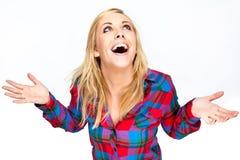 Riso louro bonito da mulher imagens de stock royalty free