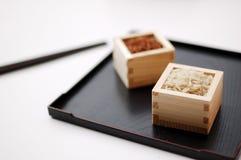Riso rosso e sbramato in contenitori quadrati Fotografia Stock