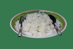 Riso tailandese del gelsomino in piatto Fotografia Stock